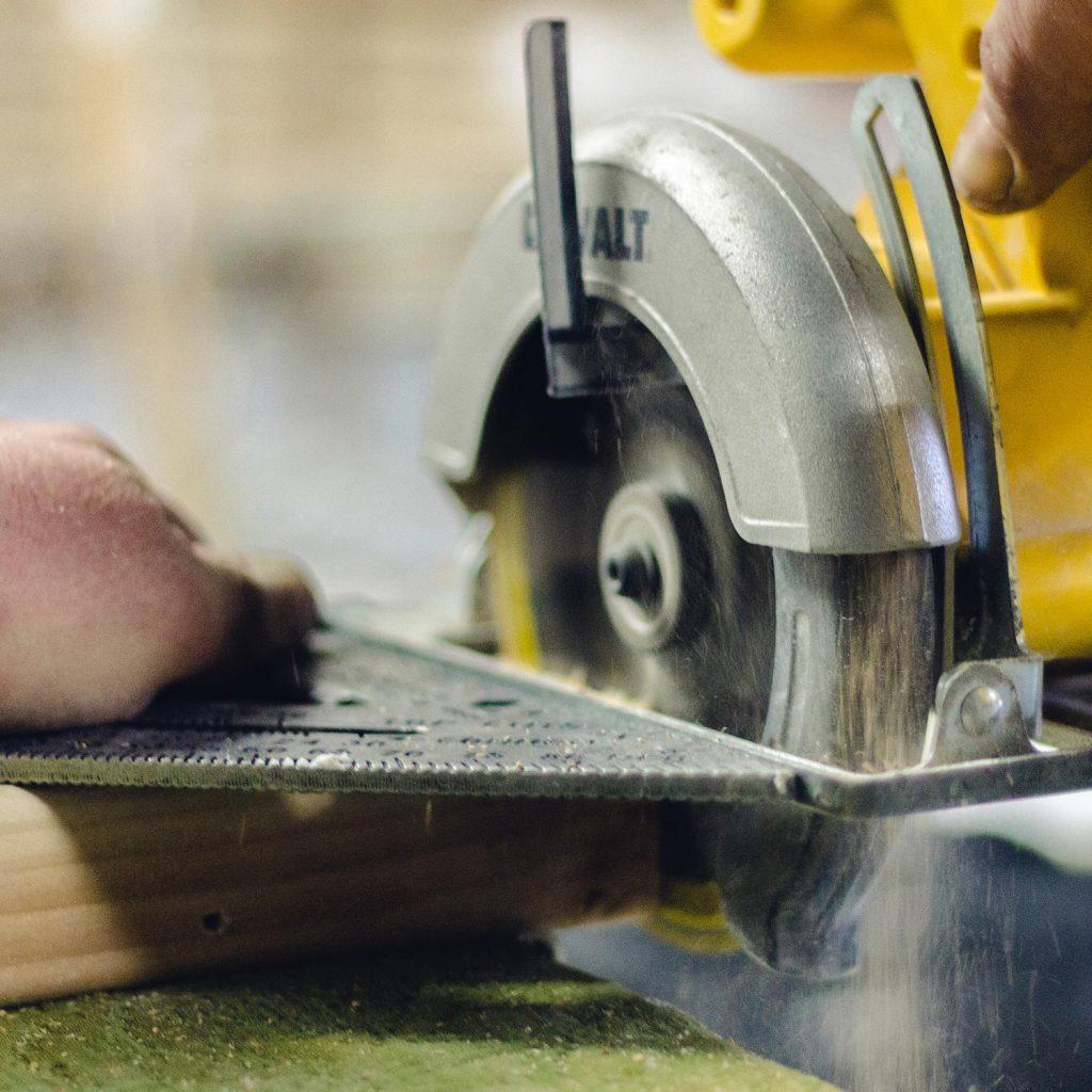 Circular saw cutting metal